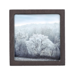 Foggy Winter Landscape with snow covered Trees Keepsake Box