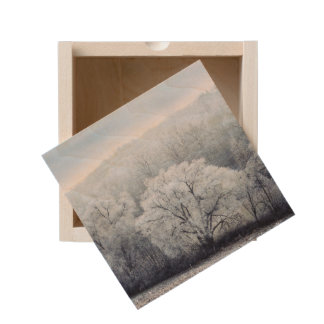 Foggy Winter Landscape with snow covered Trees Wooden Keepsake Box