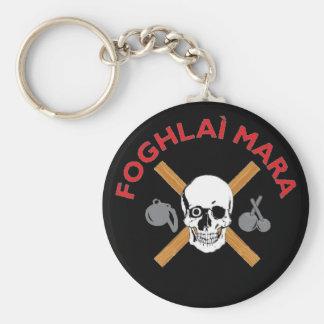 Foghlai Mara Keychain, Black Basic Round Button Keychain