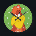 "Foghorn Leghorn | Mischievous Stare Round Clock<br><div class=""desc"">This design features your favorite Looney Tunes Character,  Foghorn Leghorn.</div>"