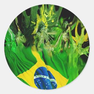 Fogo del Brasil Pegatina Redonda
