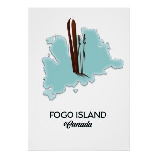 Fogo island Canada map poster