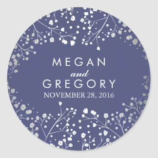 Foil Baby's Breath Navy and Silver Wedding Classic Round Sticker