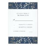 Foil Baby's Breath Navy Wedding RSVP Cards