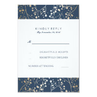 Foil Baby's Breath Navy Wedding RSVP Cards