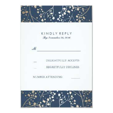 Toddler & Baby themed Foil Baby's Breath Navy Wedding RSVP Cards