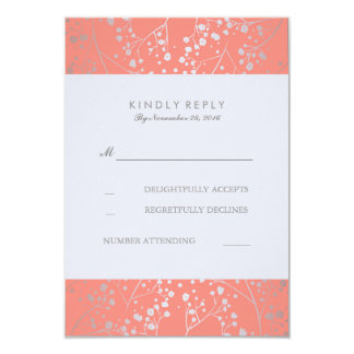 Foil Baby's Breath Silver Coral Wedding RSVP Cards