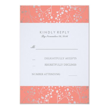 Toddler & Baby themed Foil Baby's Breath Silver Coral Wedding RSVP Cards