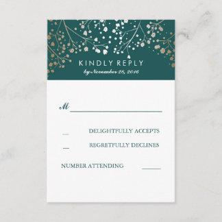 Foil Baby's Breath Teal Wedding RSVP Cards