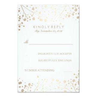 Foil Baby's Breath Wedding RSVP Cards