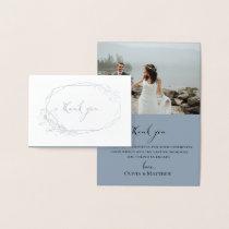 Foil Botanical Wreath Wedding Photo Thank You Card