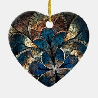 Foil Clover Fractal Double-Sided Heart Ceramic Chr Ceramic Ornament