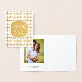 Foil Fleur de Lis Wedding | Bridal Thank You Photo Foil Card