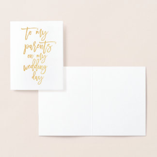 Foil Gold Script Wedding Day Card For Parents