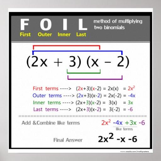 Foil Method Math Poster Zazzle