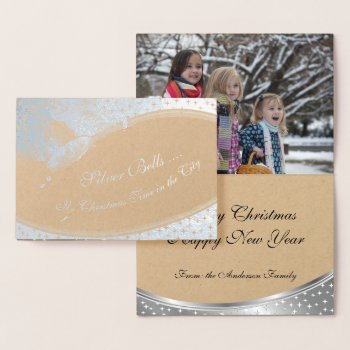 Foil Silver Bells YOUR PHOTO INSIDE Foil Card