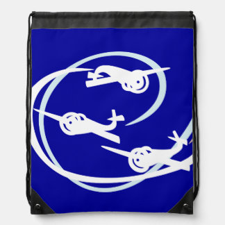 Fokker Air show white and blue Drawstring Bag