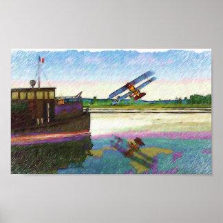 Fokker  D. VII attacks British Boat Poster