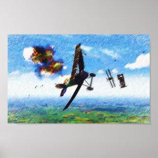 Fokker D.VII shotdown by Nieuport 28.C1 Poster