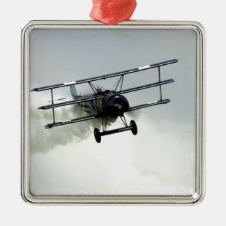 Fokker triplane square metal christmas ornament