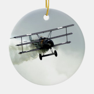 Fokker triplane Double-Sided ceramic round christmas ornament