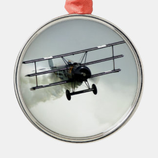 Fokker triplane round metal christmas ornament