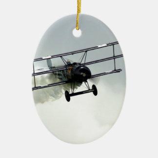 Fokker triplane Double-Sided oval ceramic christmas ornament