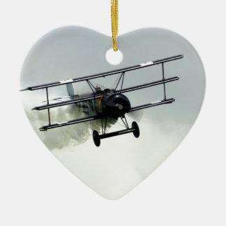 Fokker triplane Double-Sided heart ceramic christmas ornament