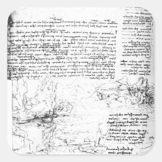 Fol.145v-a, page from Da Vinci's notebook Square Sticker