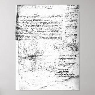 Fol.145v-a, página del cuaderno de da Vinci Póster