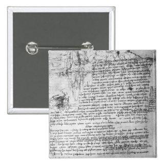 Fol.145v-b, page from Da Vinci's notebook 2 Inch Square Button