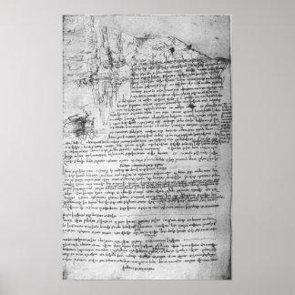 Fol.145v-b, page from Da Vinci's notebook Poster