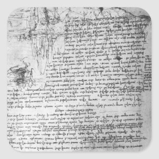 Fol.145v-b, page from Da Vinci's notebook Square Sticker
