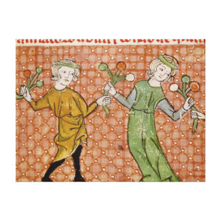 Fol.215v The Temptation: A Dancing Couple Canvas Print