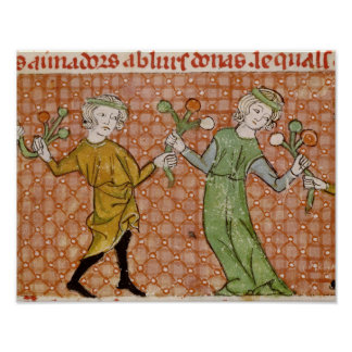 Fol.215v The Temptation: A Dancing Couple Poster
