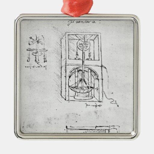 Fol. 54r del manuscrito B, 1488-90 de París Adorno Navideño Cuadrado De Metal