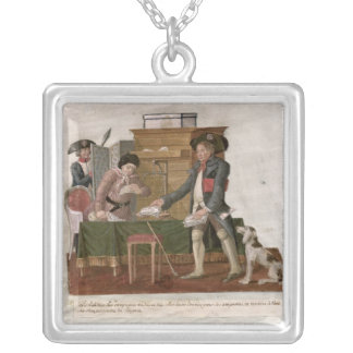 Fol.55 Country Folk and the Money Changer Square Pendant Necklace