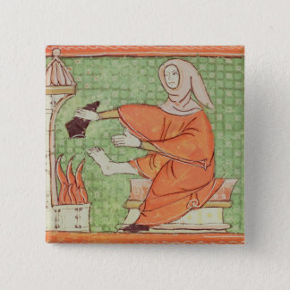 Fol.58r February: Warming by the Fire Pinback Button