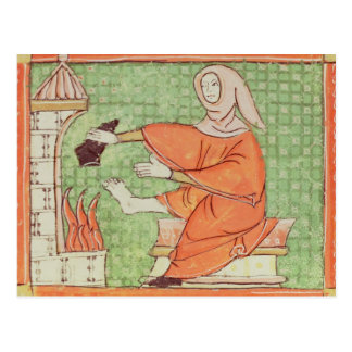 Fol.58r February: Warming by the Fire Postcard