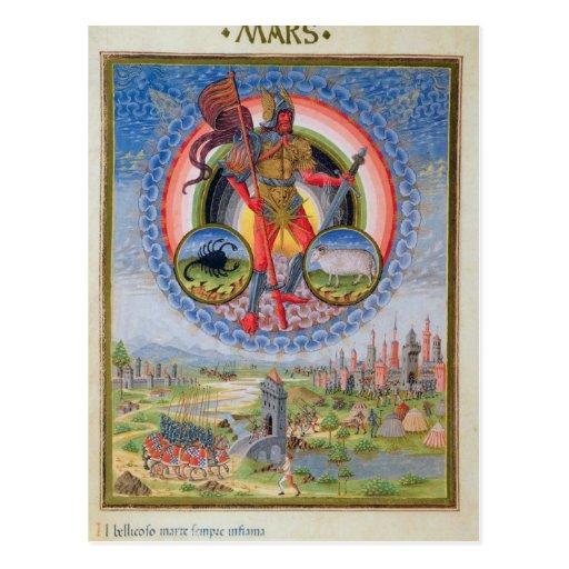 Fol.7v The Planet Mars, from 'De Sphaera', 1470 Postcard