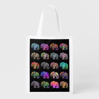 Folclore colorful ornamental parading elephants reusable grocery bag