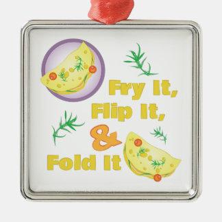 Fold It Omelet Metal Ornament