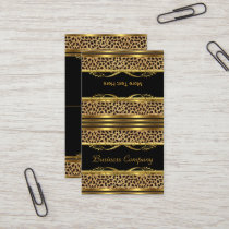 Fold Over Classy Gold Black Leopard Animal Print Business Card