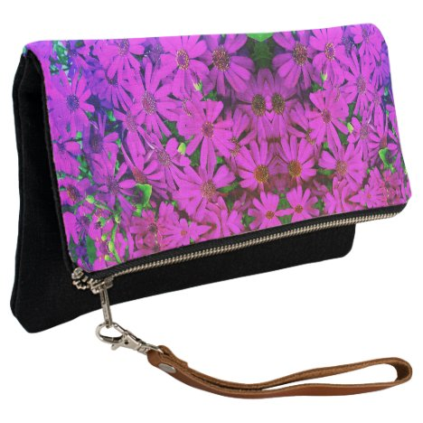 Fold Over Clutch Bright Pink Daisies