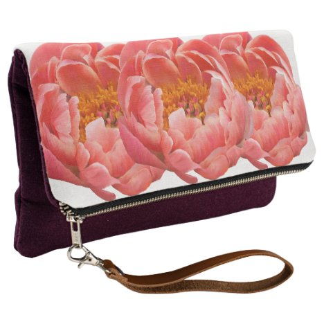 Fold Over Clutch Coral Peonies