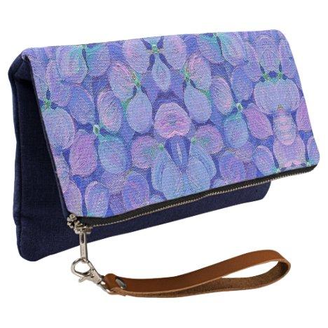 Fold Over Clutch Lavender Hydrangea Detail