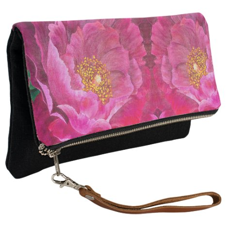 Fold Over Clutch Pink Cactus Rose