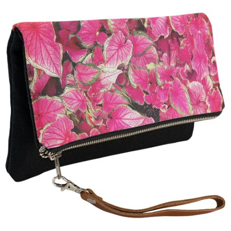 Fold Over Clutch Pink Leaves