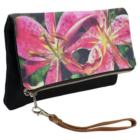 Fold Over Clutch Pink Lilies