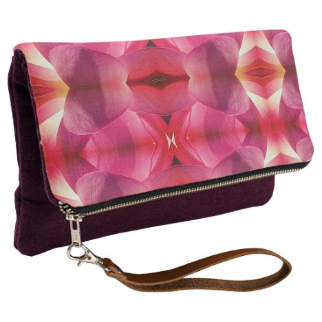 Fold Over Clutch Pink Lotus Abstract